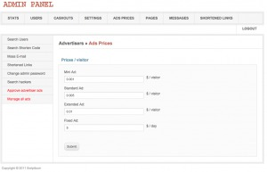 Manage ads prices