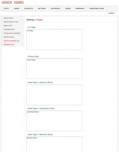 Manage front site pages
