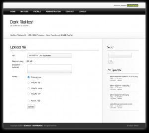 Dark File Host home Page